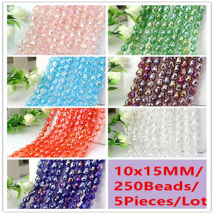 Wholesale 250Beads Pieces x15MM AB Color Teardrop Waterdrop Crystal Spacer Beads DIY Accessories Jewelry Decoration Blue Green Red Purple White