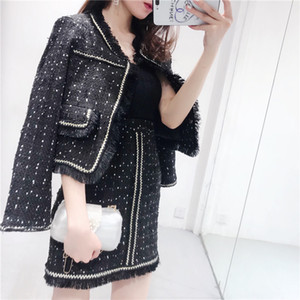 Wholesale 2018 Autumn new women's o-neck long sleeve black white color block dots embroidery tweed coat and high waist short tassel skirt suit twinset