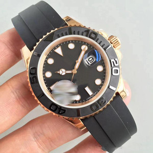 Wholesale Mens Watch YACHT MASTER mm Rubber Rose gold Automatic Movement Mechanical Mens Stainless Steel Watches Wristwatch