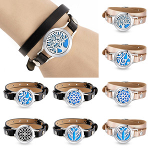 Wholesale High Quanlity Magnetic L stainless steel essential oil diffuser wrap bracelet locket with genuine leather band free felt pads