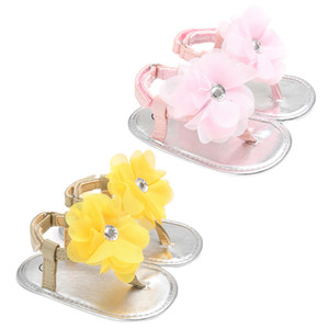 sandalias de bebé princesa al por mayor-Summer Newborn Girls Princess Sandals Shoes Baby Summer Flower Zapato rosa amarillo Zapatillas para niños Prewalkers M