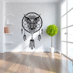 Wholesale Children Room Background Wall Stickers Black Owl Feather Dream Catcher Kids Removable Wallpaper Home Decor Mural Decoration Art aw Ww