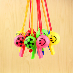 Soccer ball football smile whistle football referee whistle for World Cup cheer props toys Party Favors with strap
