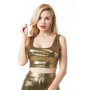 Wholesale Crop Top Summer Short Tops Sexy Silver Gold Tanks Party Club Camis Metallic Women Split Nightclub Wear Tank Top