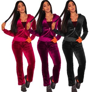 Wholesale Women Velvet Sportswear Tracksuit Hooded 2 Piece Coveralls Mujer Drawstring Full Sleeve Long Pant With Pockets Jumpsuit Plus Size 3XL