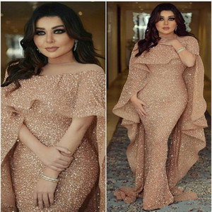 Designer Bling Mermaid Evening Gowns with Long Cape Glitter Glued Lace Illusion Arabic Middle East Custom Made Plus Size Trumpet Prom Dress on Sale