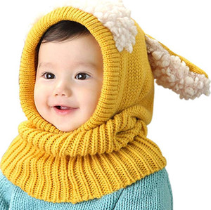 Wholesale crochet character hats resale online - SF DHL Cute kids Winter Hat Scarf Crochet Knitted Caps for baby Earflap Hood Scarves Neck warmers children Photography Props months