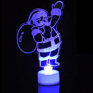 Wholesale Christmas Changing Color Night Light Acrylic Xmas Tree Santa LED Lamp Home Party Decor XHC88