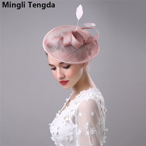 Wholesale Mingli Tengda High Quality Vintage White Black Wedding Bridal Hats Linen Feather Women Hat With Hairpin chapeau mariage Bridal Accessories