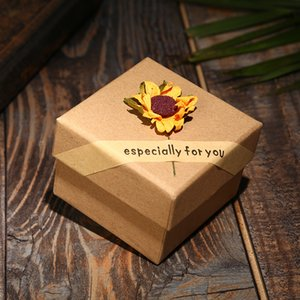 Wholesale Newly square shape cm sunflower decorration bangle bracelet jewelry box
