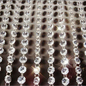 3meters 14mm crystal glass garland chains chandelier lamp octagon chain glass garland strand for wedding