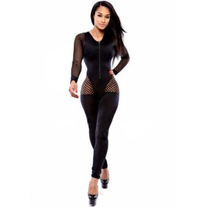 Wholesale Women Mesh Jumpsuit Long Sleeve Sexy Rompers Womens Jumpsuit Patchwork Hollow Out Body For Women Female Body Overalls