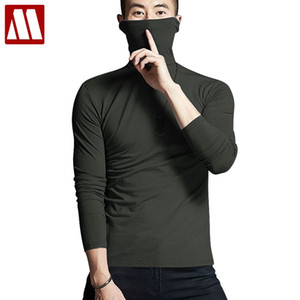 Elastic Cotton Mens Thermal Underwear Winter Turtle Neck Tops High Collar Long Johns XXXL Big size Man Long Sleeve Undershirt on Sale