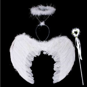 Wholesale Halloween Large and small angel feather wings and angel garland and fairy wand for kids dress
