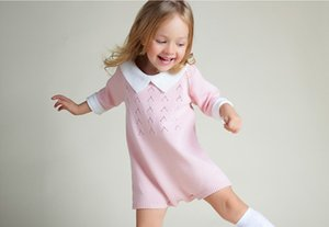 crochet robe d'hiver filles achat en gros de-news_sitemap_homeHiver Automne Bébé Filles Vêtements Rose Turn Down Neck À Manches Longues Newborn Jumpsuit En Général Vêtements Au Crochet Infantile Pull Robe