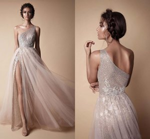 Wholesale New High Side Split Sequined Prom Dresses Bohemian One Shoulder Lace Appliqued Bridal Gowns Vestido De Novia Customize HY4135