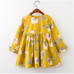 Wholesale Baby Long Sleeve Floral Print Dress Girl Spring and Autumn Bowknot Dresses Skirts Kids Clothes BLB