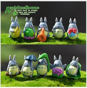 Wholesale 10 style Handmade Fairy Garden Resin Totoro Dolls Craft Home Garden Miniature Bonsai Pots Decoration Moss Terrarium Decor Cartoon Figurines
