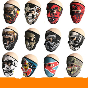 Wholesale New Pattern Skull Face Mask Colors Halloween Costume Party Outdoors Motorbike Keep Warm Scarf Ski Snowboard Sports Towel fd W