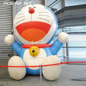 Wholesale Portable promotional cartoon inflatable Doraemon model sitting with big red mouth and happy smiling for sale