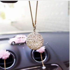Wholesale Rhinestone Interior Decor Crystal Ball Lucky Charm Pendant Car Rear View Mirror Charm Crystal Bling Ball Hanging Ornament