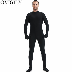 Wholesale OVIGILY Mens Black Full Body Zentai Suit Spandex Lycra Turtleneck Bodysuits Nylon Skin Tights Unitards Cosplay Bodysuits No Hood