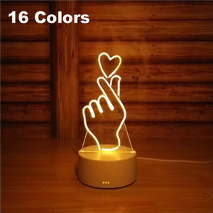 Wholesale 3D Led Night Light Change Novelty Table Lamp Home Decor Bedside d Lamp Child Gifts New Color With remote control palm