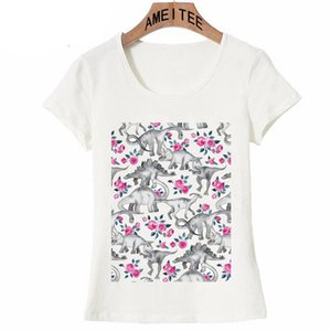 Wholesale New Fashion Women T Shirts Dinosaurs and Pink Roses white T Shirt Funny Animal Design Casual Tops Female Tee Girl Short Sleeve
