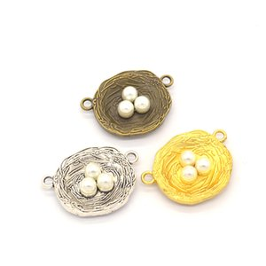 100 Pcs Bird Nest connector charms with 3 Faux Pearl Egg 22x30mm good for DIY craft, jewelry making