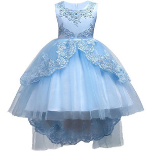 Pretty Lace Blue Puffy Flower Girl Dresses 2018 High Low Lace Appliques Communion Dresses Pageant Dresses For Little Girls mc1458