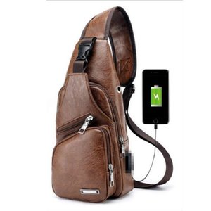 Wholesale Men USB Chest Bag Sling bag Waterproof Large Capacity Handbag Crossbody Bags PU Shoulder Bag Charger Messenger Bags Colors