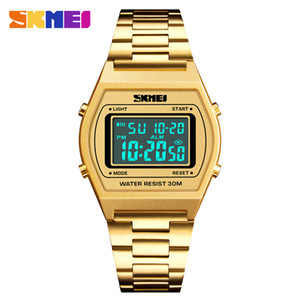 SKMEI Brand Watch Mens Luxury LED Digital Electronic Sports Watch Countdown Stainless Waterproof Men Wrist 1328