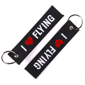 Wholesale Motorcycle Keychain I LOVE FLYING Key Ring Keychain Fashion Jewelry Safety Label Embroidery Chain Aviation Gifts Free DHL G100Q
