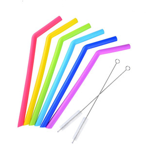 Food Grade Silicone Drinking Straws 25cm Silicone Straight Bent Straws Set with Two Brushes for Cups