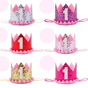 Wholesale Boy Blue Silver First Birthday Hat Girl Gold Pink Princess Crown Number Year Old Party Hat Glitter Birthday Headband