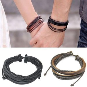Wholesale Fashion Men s Lovers Surfer Tribal Wrap Multilayer Genuine Leather Cuff Bracelet for Gift Party Wedding Jewellery