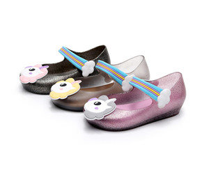 Wholesale Unicorn ins Kids mini sed jelly sandals for baby unicorn children girls princess shoes cute cartoon transparent bling soft beach shoes T0288