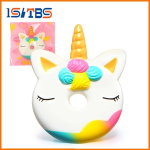 Wholesale 2018 Hot Sale Jumbo Unicorn Donut Squishy Cake Bread Squishies Cream Scented Slow Rising Squeeze Toy Original Package