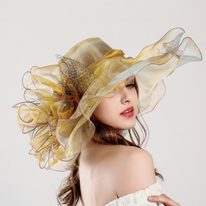 Wholesale big summer hats for sale - Group buy Anti UV Creative summer hat anti ultraviolet European and American Eugen yarn fashion net gauze big sun hat