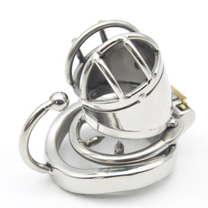 Male Short Stainless Steel Chastity Cage Hook Ring Men Metal Small Locking Belt Device with Barbed Spike Ring Sexy Toys DoctorMonalisa CC101