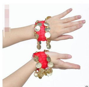 1pair lot free shipping woman belly dancing chiffon bracelet with coin candy color belly dancning accessories
