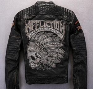 Wholesale Street fashion affliction men motorcycle genuine leather jacket with Indian skull head embroidery