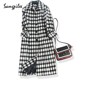 Wholesale 2018 New Winter Samgpilee Full sleeve Long Plaid Turn down Collar Single Breasted Slim fashion Casual women Wool Blends L XL