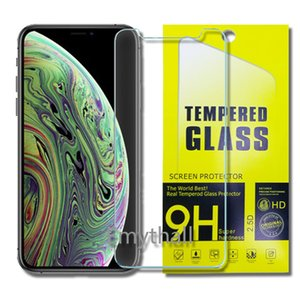 Wholesale For Iphone XR XS MAX X Tempered Glass Screen Protector LG M320 Q8 Moto E5 plus Zenfone live L1 mm D H Paper Package