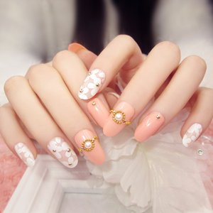 Wholesale New fashion pink base white floral pearl Nail Acrylic full cover False Nail Fake Nails art Tips Stickers with GLUE in