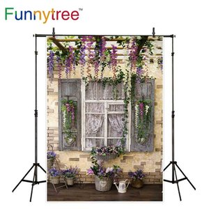 Funnytree background for photo studio Flower stand vintage wood window garden brick wall photography backdrop photocall prop