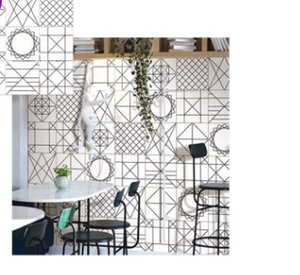 Nordic black and white line tiles 300 * 300 toilet wall tiles living room kitchen tiles simple modern bricks on Sale