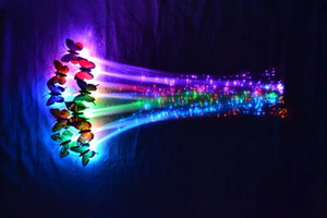 Wholesale 2018 Luminous Hairpin Girl Light Up toys Butterfly LED Wigs Hair Blinking Glow Hair Braid For Show Dance Party Decoration