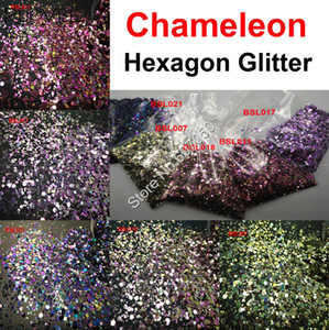 Wholesale 5COLORS Chameleon Glitter Mixed Metallic Luster Hexagon Shape Nail Art for Craft Decorations Makeup Facepainting DIY Accessories