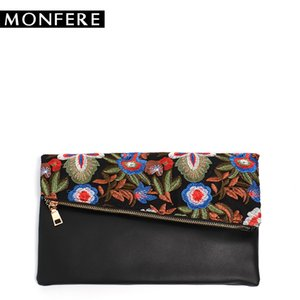 Wholesale MONFER NEW DAY Clutch Vintage flower Embroidery cover Women envelope bag Chain Shoulder Evening Bags ladies purse crossbody bag